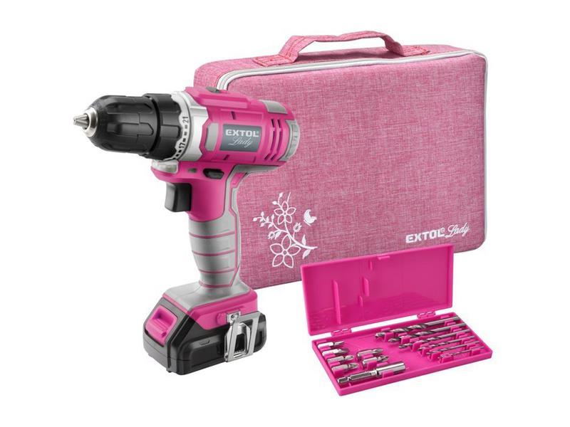 Aku vŕtací skrutkovač, ružový, 12V Li-ion, 1300mAh, sada v taške, EXTOL LADY 402401