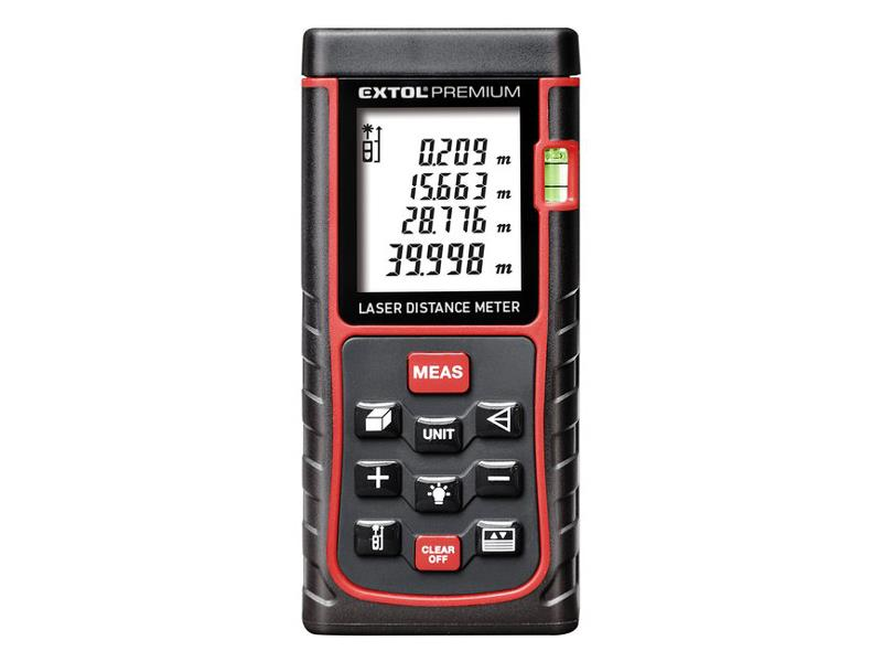 Diaľkomer - laserový merač vzdialenosti digitálne 0,05-40, EXTOL PREMIUM