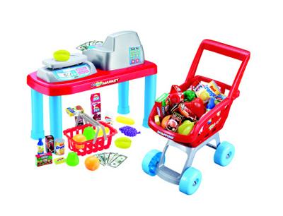 Pokladňa detská G21 + nákupný vozík s príslušenstvom