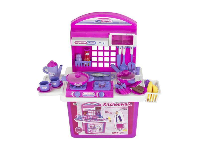 Kuchynka detská G21 s príslušenstvom v kufri ružová