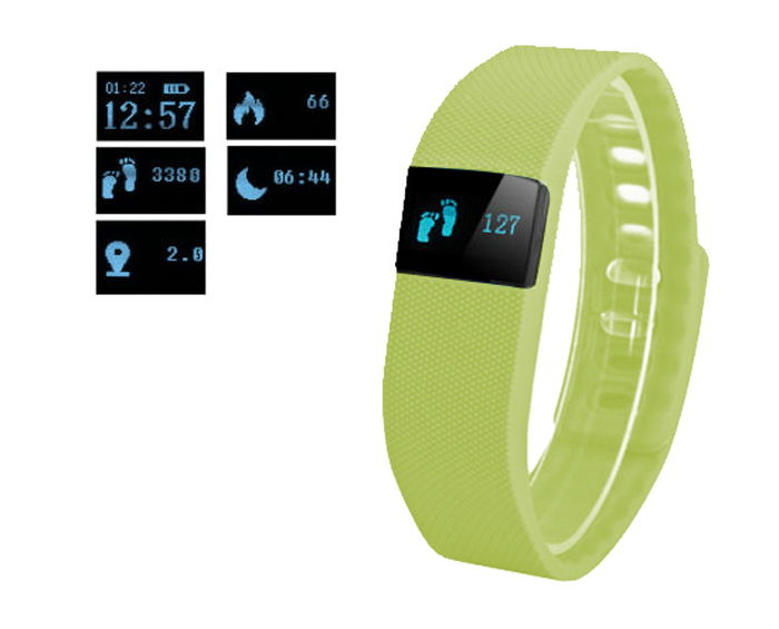 Fitness náramek FT64, OLED, Bluetooth 4.0, Android+iOS zelená