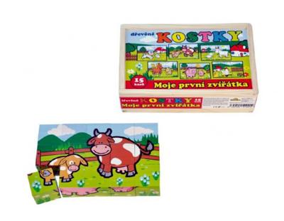 Detské kocky TEDDIES Moje prvé zvieratká drevené 15ks