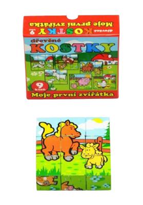 Detské kocky TEDDIES Moje prvé zvieratká drevené 9ks