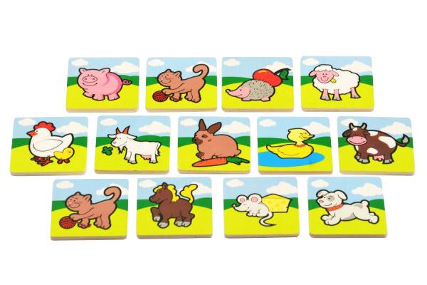 Detské pexeso TEDDIES Moje prvé zvieratká drevené 24ks