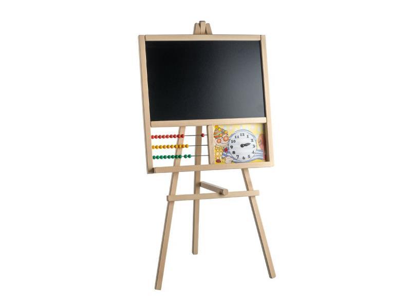Detská stojanová tabuľa TEDDIES s počítadlom drevená