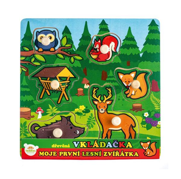 Detská vkladačka TEDDIES Moje prvé lesné zvieratká drevená 6ks