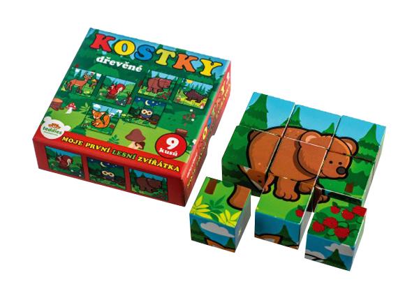 Detské kocky TEDDIES Moje prvé lesné zvieratká drevené 9ks