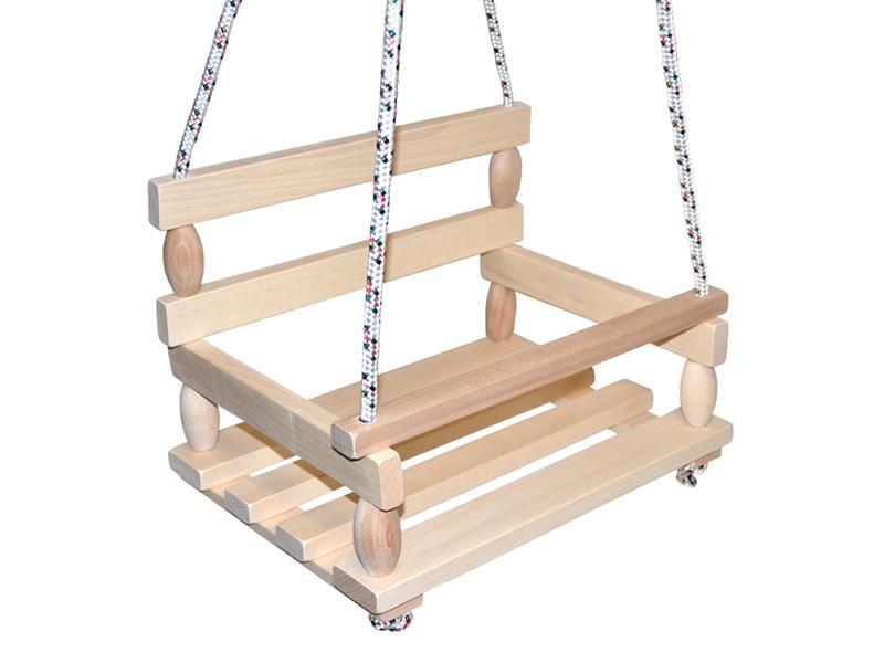 Detská hojdačka TEDDIES drevená prírodné