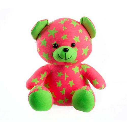 Medvedík plyšový TEDDIES svietiace v tme ružový / zelený