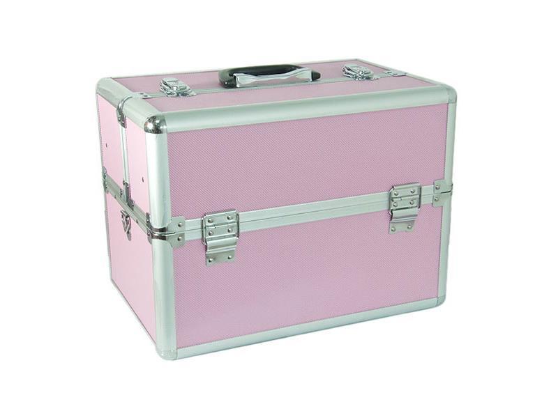 Kufrík kozmetický PROTEC hliník ružový malý