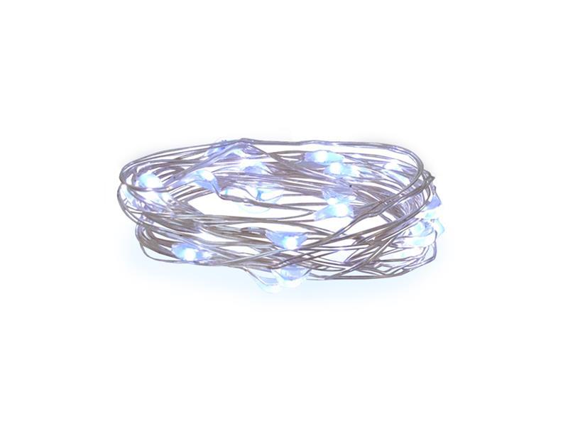Řetěz vánoční 100 LED, 10m, 3xAA, bílá studená