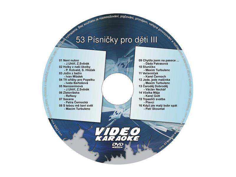 Karaoke DVD PÍSNIČKY PRO DĚTI III