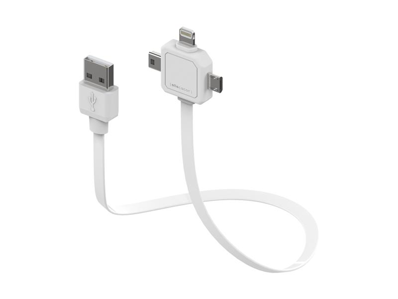 Kábel USB - MICRO USB / MINI USB / LIGHTNING POWER USB WHITE
