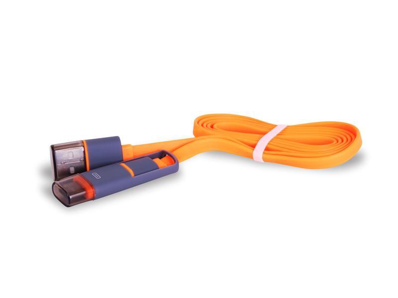 Kábel USB - Micro USB / USB-C TYPE plochý oranžový 1m CPA