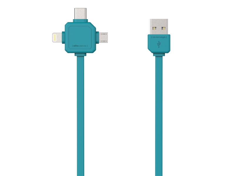 Kábel USB - MICRO USB / USB C-TYPE / LIGHTNING BLUE