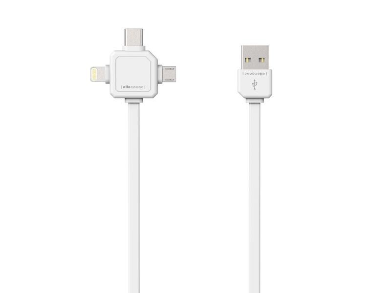 Kábel USB - MICRO USB / USB C-TYPE / LIGHTNING WHITE