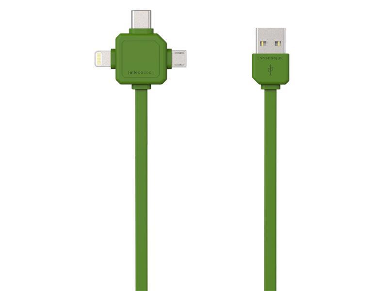 Kábel USB - MICRO USB / USB C-TYPE / LIGHTNING POWERCUBE zelený