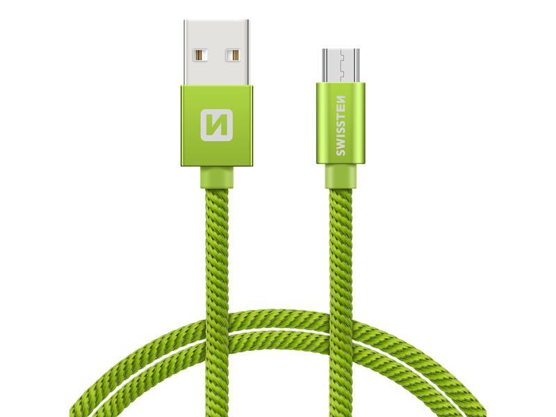 Kabel SWISSTEN USB/Micro USB 0,2M zelený