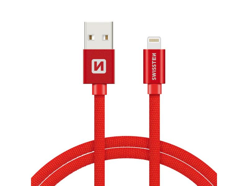 Kabel SWISSTEN USB/Lightning MFi 1,2M červený