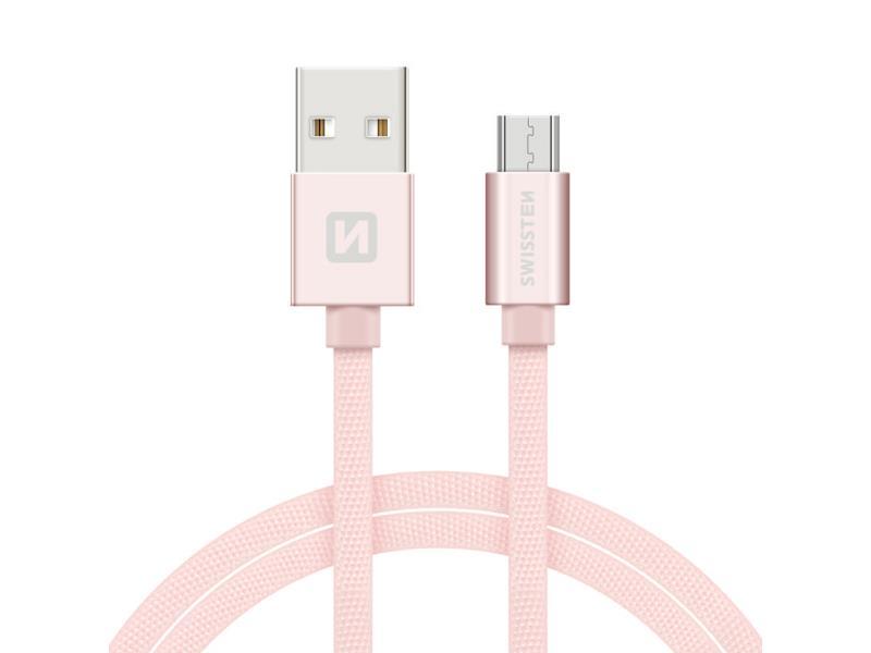 Kabel SWISSTEN USB/Micro USB 1,2M růžovo/zlatý
