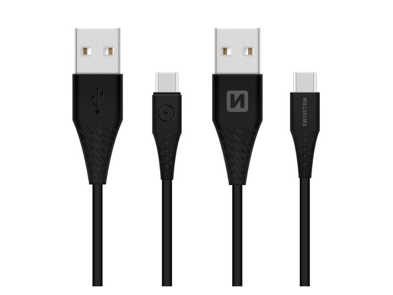 Kábel SWISSTEN USB / USB-C 3.1 čierny 1,5 M (dlhšia konektor 9mm)