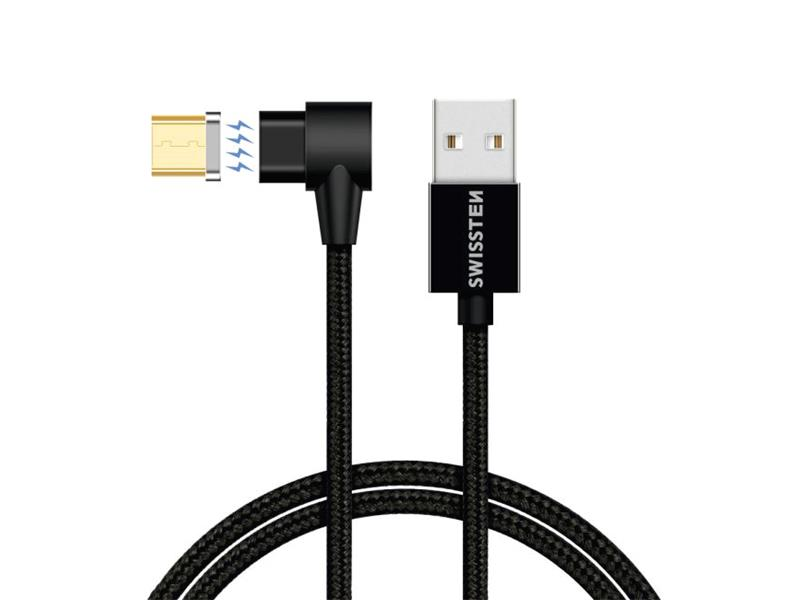 Kábel SWISSTEN magnetický textilný USB / micro USB 1.2M čierny