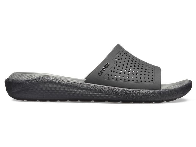 CROCS LITERIDE SLIDE - Black/Slate Grey M7/W9 (39-40)