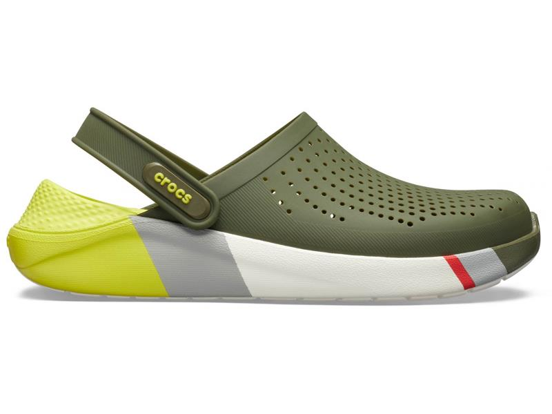 CROCS LITERIDE COLORBLOCK CLOG ARMY - Green/White M8/W10 (41-42)
