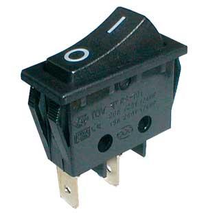 Přepínač kolébkový 2pol./2pin ON-OFF 250V/15A černý