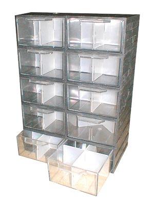Krabička ZUNI 3 regálek 10ks průhledná