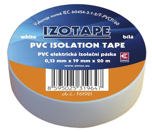Izolační páska PVC 19/20m bílá