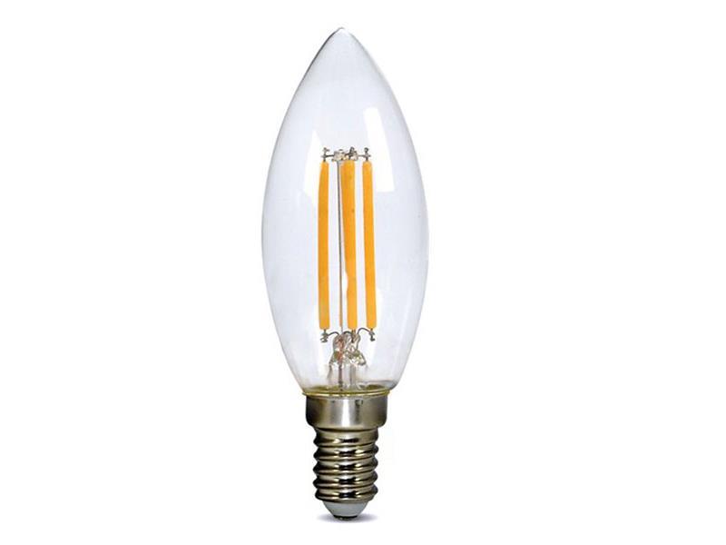 Žárovka LED C37 E14 4W bílá teplá retro SOLIGHT, 3 roky záruka