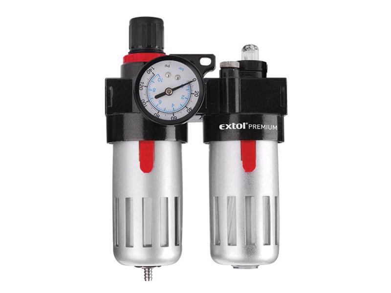 Regulátor tlaku so vzduchovým filtrom, primazávačom a manometrom, max. pracovn EXTOL PREMIUM 8865105