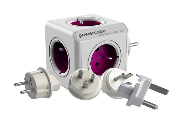 Zásuvka PowerCube REWIRABLE USB + TRAVEL PLUGS fialová