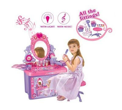 Stolík kozmetický G21 detský so zrkadlom a zvuky v kufríku