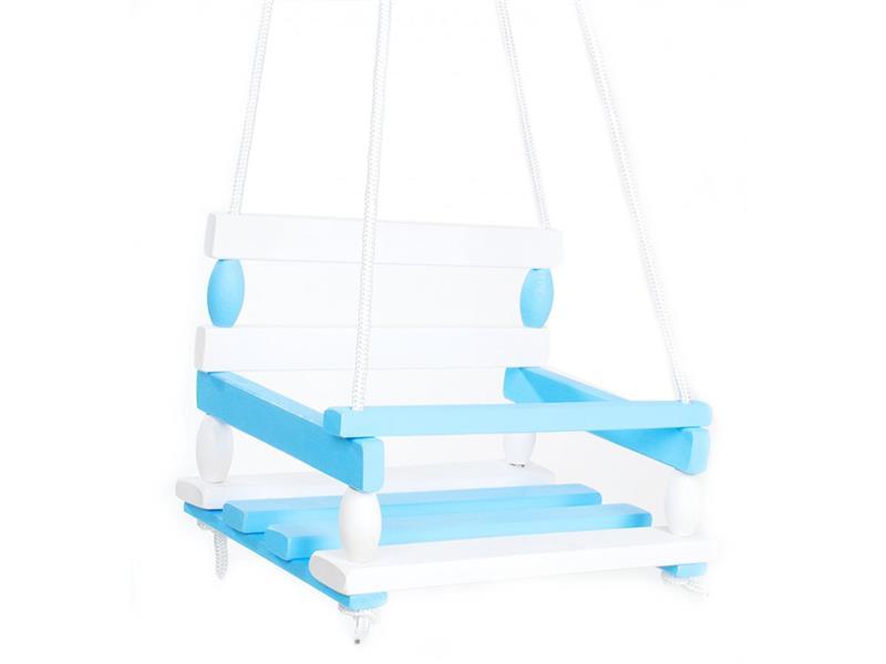 Hojdačka detská TEDDIES drevená modrá