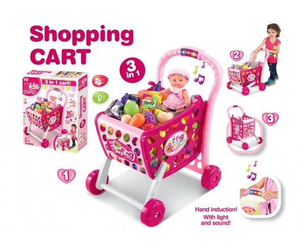 Košík nákupný G21 s príslušenstvom ružový