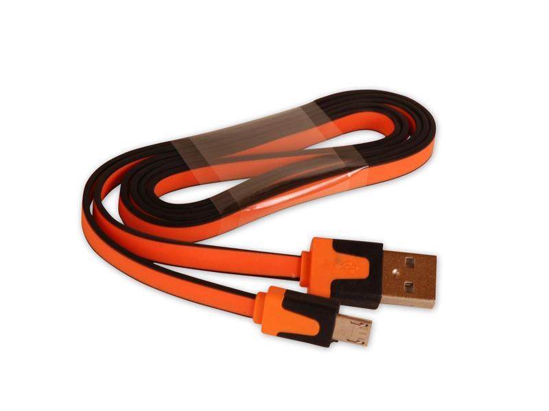Kábel USB - Micro USB plochý oranžový 80 cm CPA