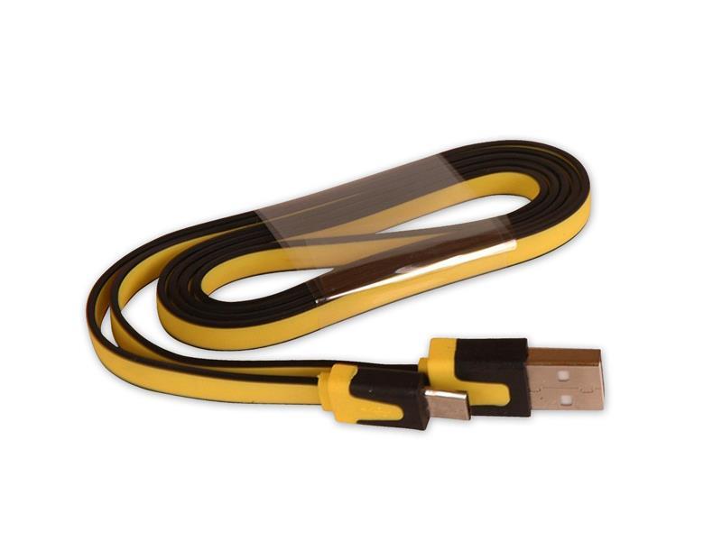 Kábel USB - Micro USB plochý žltý 80 cm CPA